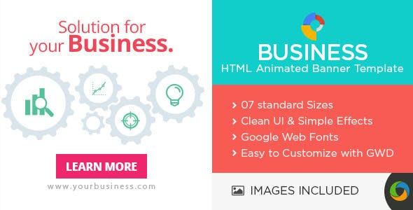 HTML5 Business & Marketing Banners - 7 Sizes