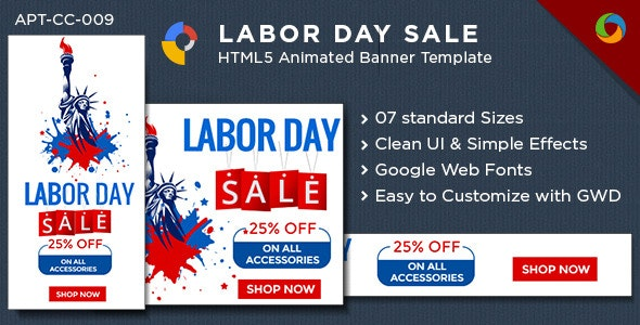 Labor Day HTML5 Banners - 7 Sizes - GWD - CodeCanyon Item for Sale