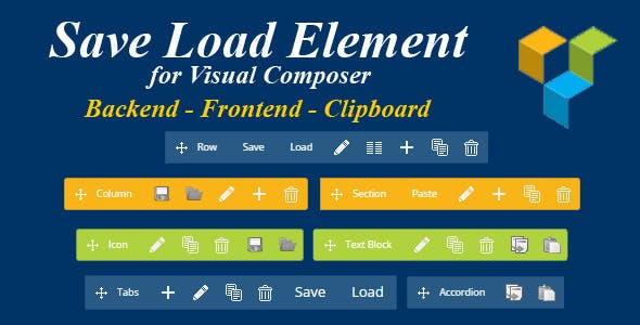 Save Load Element for Visual Composer