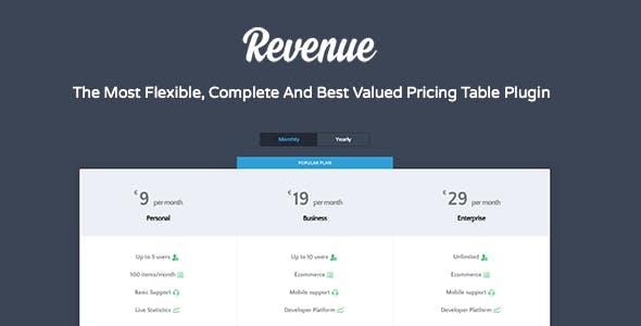 Pricing Table - Revenue Plugin