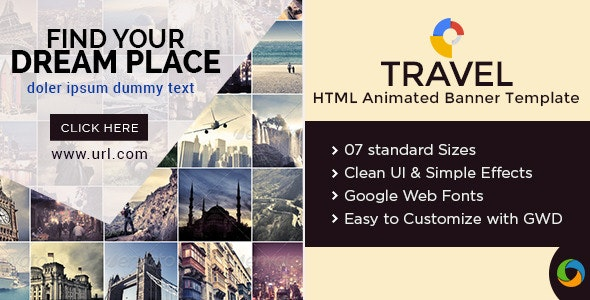 Travel & Tourism HTML5 Banners -7 Sizes - CodeCanyon Item for Sale