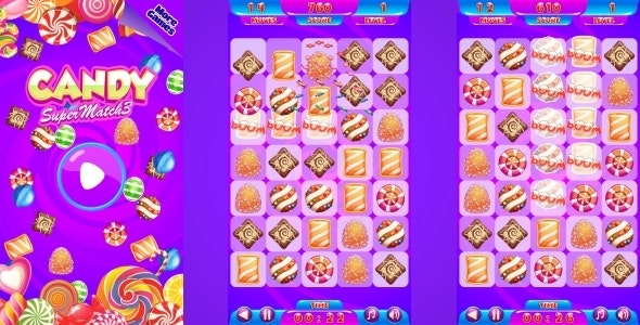 Candy Match3 - HTML5 Mobile Game (Construct 3 | Construct 2 | Capx) - CodeCanyon Item for Sale