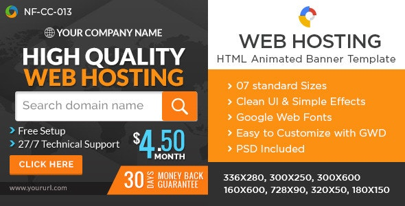 Web Hosting Html5 Banners Google Web Designer By Hyov Codecanyon