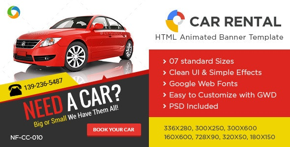 Car Sales & Rental HTML5 Banners - 7 Sizes - CodeCanyon Item for Sale