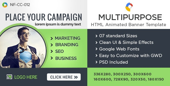 Multi Purpose HTML5 Banners - GWD - 7 Sizes - CodeCanyon Item for Sale