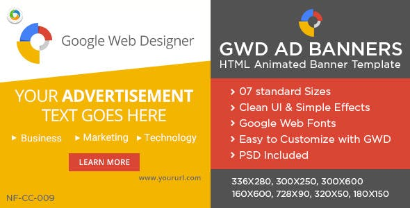 Multi Purpose HTML5 Banners - GWD - 7 Sizes