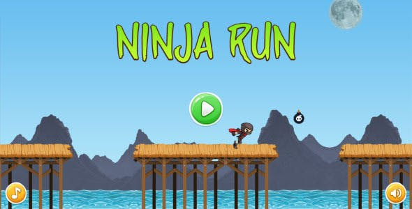 Ninja Run - HTML5 Mobile Game (Construct 3 | Construct 2 | Capx)