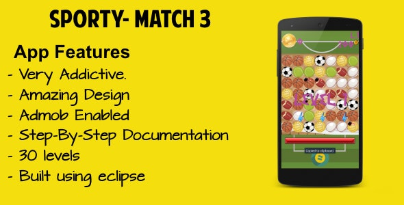 Sporty - Match 3 Game - CodeCanyon Item for Sale