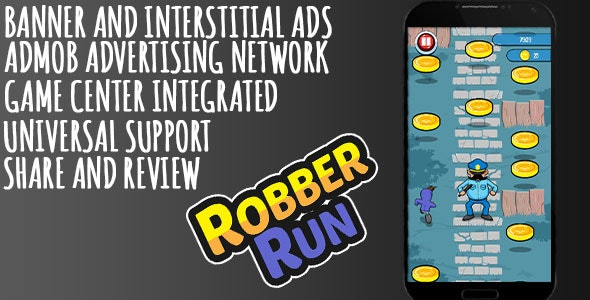 Robber Run + AdMob + Leaderboard - CodeCanyon Item for Sale