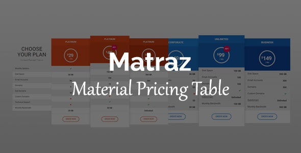 Matraz - Material Pricing Table - CodeCanyon Item for Sale