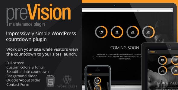 preVision Responsive WordPress Maintenance Plugin - CodeCanyon Item for Sale