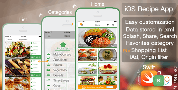 iOS Recipe App - CodeCanyon Item for Sale