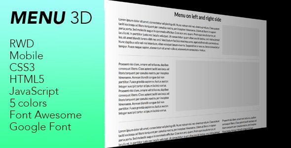 Menu 3d - hamburger menu 3d - CodeCanyon Item for Sale