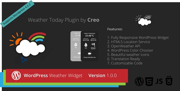 Creo Weather Today WordPress Widget Plugin - CodeCanyon Item for Sale