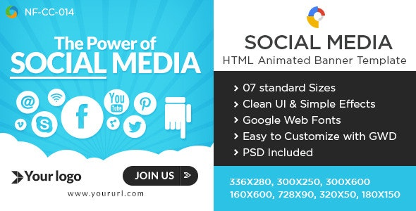 Social Media HTML5 Banners - 7 Sizes - CodeCanyon Item for Sale