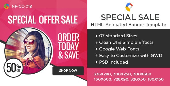 HTML5 Special Sale Banners - GWD - 7 Sizes - CodeCanyon Item for Sale