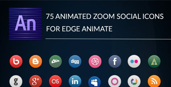 Animated Zoom Social Icons - Edge Animate Template