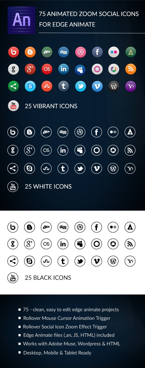 Animated Zoom Social Icons - Edge Animate Template - CodeCanyon Item for Sale