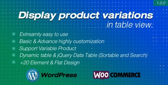 Display product variations in table for WooCommerce