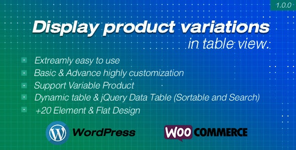 Display product variations in table for WooCommerce - CodeCanyon Item for Sale
