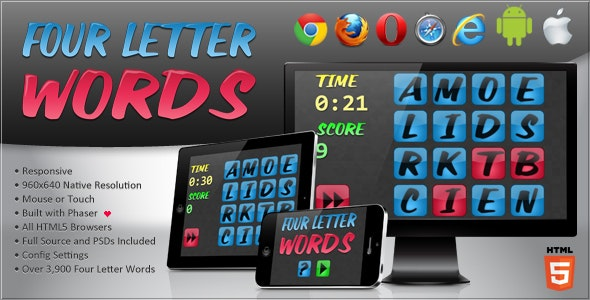 Four Letter Words - HTML5 Word Game - CodeCanyon Item for Sale