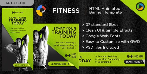 GYM & FITNES HTML5 Banners - GWD - 7 Sizes - CodeCanyon Item for Sale