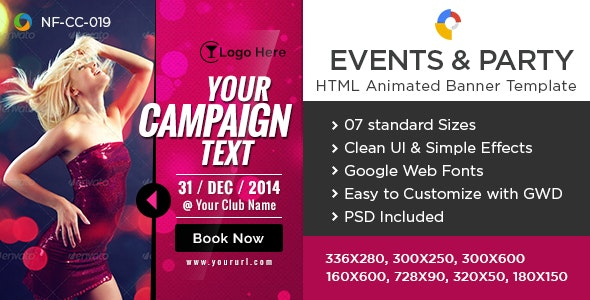 HTML5 Events & Party Banners - GWD - 7 Sizes - CodeCanyon Item for Sale