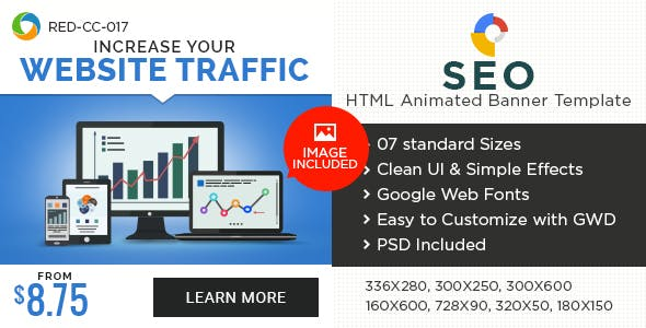HTML5 SEO & Marketing Banners - GWD - 7 Sizes
