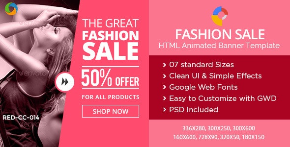 HTML5 Fashion & Retail Banners - GWD - 7 Sizes - CodeCanyon Item for Sale