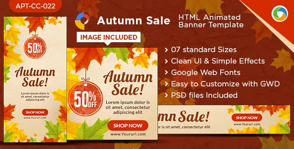 HTML5 Autumn Sales Banners - GWD - 7 Sizes - CodeCanyon Item for Sale