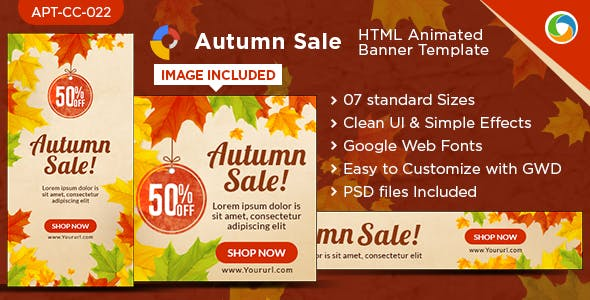 HTML5 Autumn Sales Banners - GWD - 7 Sizes
