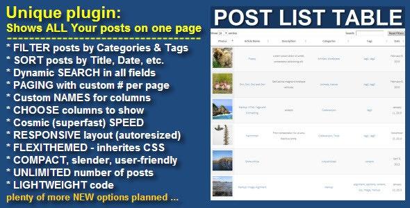Wordpress Post List Table - CodeCanyon Item for Sale