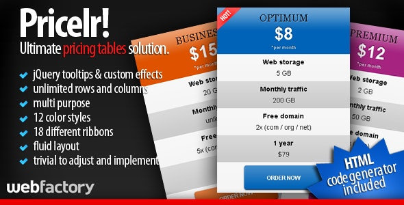 Pricelr! - Ultimate Pricing Tables Solution - CodeCanyon Item for Sale