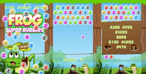 Frog Super Bubbles -  HTML5 Game + Mobile (Construct 3 | Construct 2 | Capx)