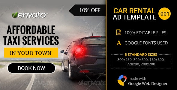 Car Rental/Service Banner - 001 - CodeCanyon Item for Sale