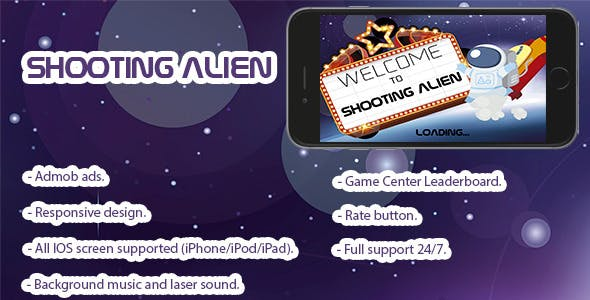 Shooting Alien. Xcode 7, Swift 2, iOS 8.x/9.x