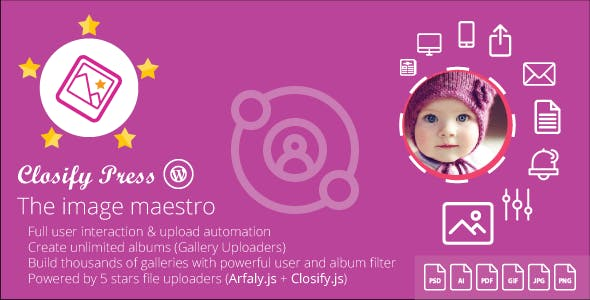 Closify Press - Wordpress frontend photo upload + Live gallery builder