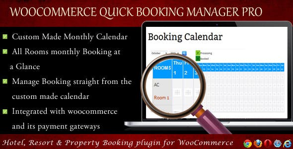 WooCommerce Quick Resort & Hotel Booking Calendar
