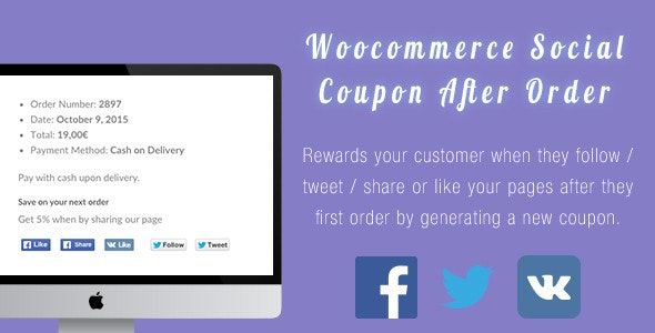 Woocommerce After Sale Social Coupon - CodeCanyon Item for Sale