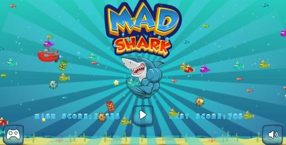 Mad Shark - HTML5 Game, Mobile Version + AdMob!!! (Construct 3 | Construct 2 | Capx)