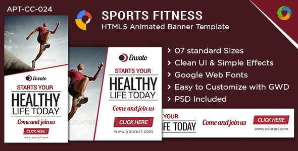 HTML5 Sports & Fitness Banners - GWD - 7 Sizes - CodeCanyon Item for Sale