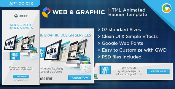 HTML5 Web & Graphic Banners - GWD - 7 Sizes - CodeCanyon Item for Sale