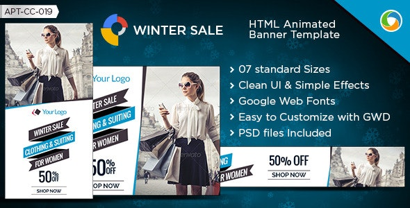 HTML5 Winter Sale Banners - GWD - 7 Sizes - CodeCanyon Item for Sale
