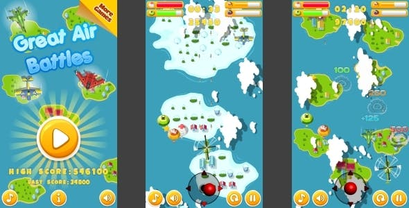 Great Air Battles - HTML5 Mobile Game (Construct 3 | Construct 2 | Capx)