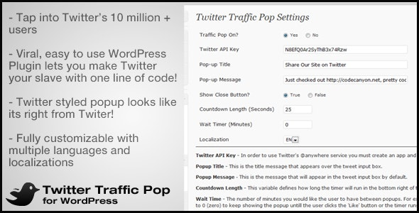Twitter Traffic Pop for WordPress - CodeCanyon Item for Sale