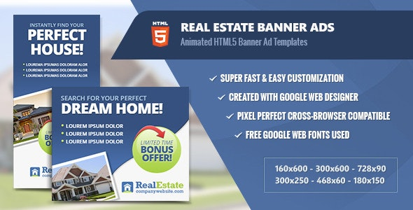 Real Estate Banner Ads - HTML5 Animated - CodeCanyon Item for Sale