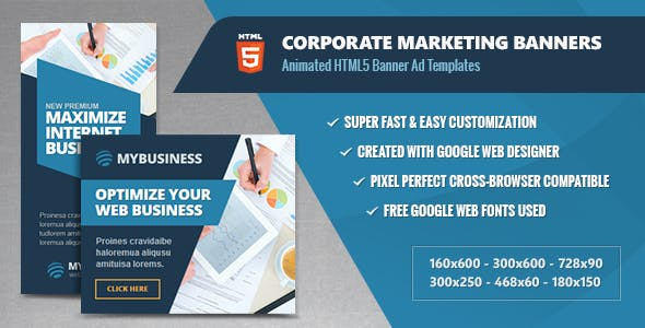 Corporate Marketing Banners - HTML5 Animated Ads