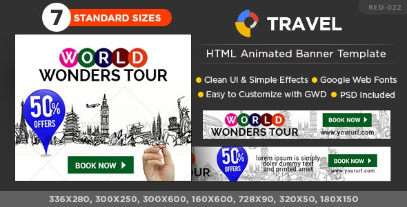 HTML5 Travel & Tourism Banners - GWD - 7 Sizes - CodeCanyon Item for Sale