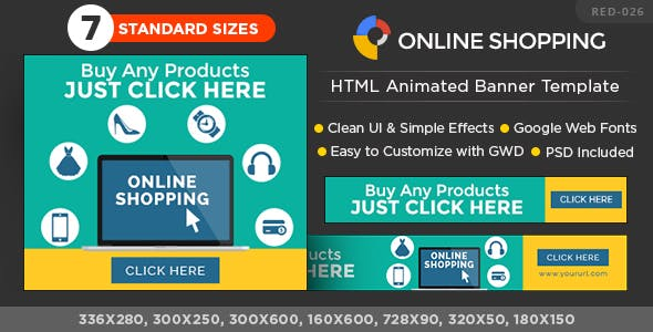 HTML5 Online Shopping Banners - GWD - 7 Sizes