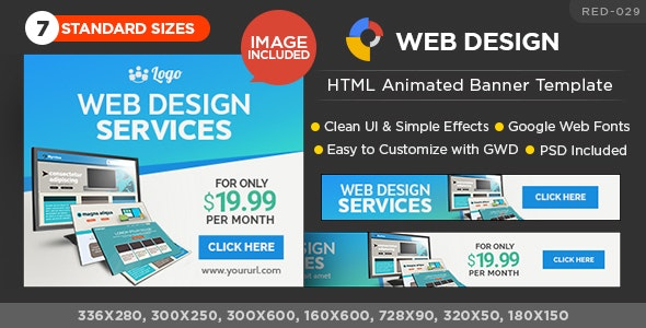 HTML5 Design Agency Banners - GWD - 7 Sizes - CodeCanyon Item for Sale